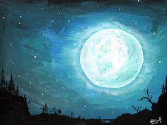"""EMBRUJO ZARCO"" by Daniel Reynoso (Ankhsethamon). acrylic painting Morgan Morgan, Blue Mountain, Candid, Moon, Magic, Paintings, Sky, Celestial, Outdoor"