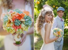 Lush green succulents, another popular trend for 2012, mix well with sweet blush and coral poppies and peach parrot tulips for this unique bouquet.