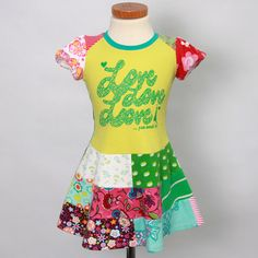 Size 2T up to 4T yrs girls upcycled t-shirt dress love,love,love