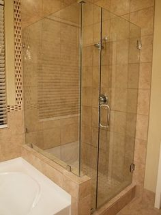 remodeled master bathroom with tile and glass shower - Tub Shower Doors