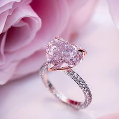 Pink Heart Cut Diamond Solitaire Engagement Ring in 925 Sterling Silver # pink wedding rings Engagement Ring Settings, Solitaire Engagement, Wedding Engagement, Pink Diamond Engagement Ring, Solitaire Rings, Heart Shaped Engagement Rings, Pink Wedding Rings, Pink Rings, Heart Wedding Rings