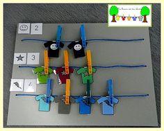 Anneke / Was ophangen / Inhoud: 4 kaarten met een wasdraad, dobbelstenen met vormen, met kleur en met aantal, kledingstukken, wasknijper(tje)s