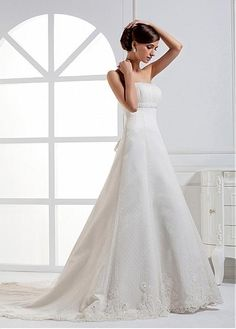 GORGEOUS TULLE SATIN A-LINE STRAPLESS NECKLINE EMPIRE WAIST BRIDAL DRESS WITH BEADED LACE APPLIQUES
