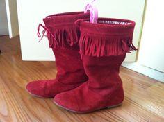 Zara Girls Burgundy Red Fringe Leather Boots Slip-On Shoe US (Youth) 3 EU35 UK2  | eBay