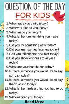 151 Questions Of The Day For Kids