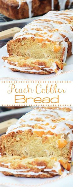 Peach Cobbler Bread - the easiest way to make peach cobbler! Canned peaches and a sweet bread batter, topped with a glaze - this is perfect for spring! AD BobsSpringBaking A peach cobbler bread recipe with canned peaches and a powdered sugar glaze. Easy Bread Recipes, Baking Recipes, Dessert Recipes, Meat Recipes, Bread Recipes For Breakfast, Recipies, Sweet Desserts, Dessert Bread Machine Recipes, Dessert Bread