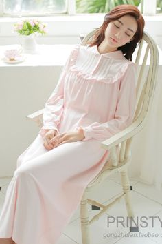 and autumn long sleeve royal princess nightgown full dress fashion white knitted cotton sleepwear lounge -in Nightgowns & Sleepshirts from Women's Clothing & Accessories on Trendy Dresses, Nice Dresses, Fashion Dresses, Night Gown Dress, The Dress, Vintage Nightgown, White Nightgown, Nightgown Pattern, Night Dress For Women