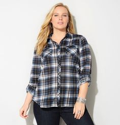 Shop classic plaid shirts for fall in plus sizes 14-32 like the Tonal Plaid Shirt available online at avenue.com. Avenue Store