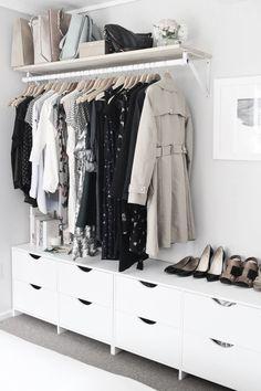 New Ikea Closet System Bedrooms Ideas Small Closet Space, Small Space Bedroom, Small Spaces, Small Bedrooms, Small Closet Organization, Closet Storage, Bedroom Storage, Storage Organization, Bedroom Organization