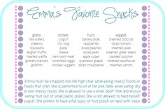 """Babysitter Snack Cheat Sheet for my 18-month-old. Snacks are grouped by nutritional category, then listed in order of preference. Printed on cardstock, laminated, and hung from her highchair """"handle"""" with a binder ring. Important notes/instructions listed at bottom. Fonts used: Simply Glamorous & Cicle. Made in PowerPoint."""