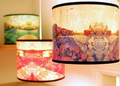 three lampshades with retro style prints