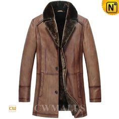 CWMALLS Mens Genuine Shearling Leather Coat CW857019 Generous genuine shearling coat for men crafted from quality imported Turkey calfskin leather shell with lamb fur shearling lining for extra warmth when the temperature plummet. Best shearling coats with shearling notched collar and full shearling lining.  www.cwmalls.com PayPal Available (Price: $1537.89) Email:sales@cwmalls.com