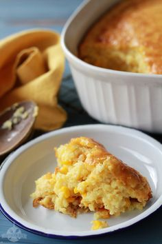 Sweet Corn Spoonbread- It's a classic southern side dish recipe, more like a pudding than a bread. It's one of those dump, stir, and pour kind of recipes. It is a family favorite at the Southern Bite household. Corn Recipes, Side Dish Recipes, Great Recipes, Favorite Recipes, Recipies, Amazing Recipes, Thanksgiving Recipes, Holiday Recipes, Dinner Recipes