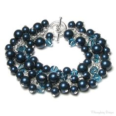 Teal Blue Green Indicolite Swarovski Crystal Petrol Swarovski Pearl Cluster Silver Charm Bracelet is handmade with a silver-plated chain, a