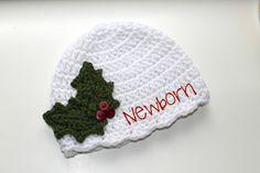 Crochet Infant Newborn Hat Holly Leaf Hat by ZawiHatsAndMore
