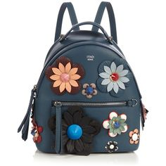 By The Way mini Flowerland backpack Fendi MATCHESFASHION.COM ($1,184) via Polyvore featuring bags, backpacks, blue bag, mini backpacks, miniature backpack, fendi backpack and blue backpack