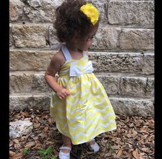 Yellow Chevron Toddler Dress by Chicklettes on Etsy https://www.etsy.com/listing/232411130/yellow-chevron-toddler-dress
