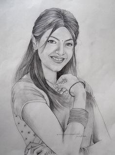 South Indian Actress Kajal Aggarwal by MaheshPendam on DeviantArt Pencil Sketch Portrait, Pencil Sketch Drawing, Girl Drawing Sketches, Portrait Sketches, Pencil Drawing Tutorials, Pencil Drawing Images, Pencil Shading, Face Sketch, Pen Sketch