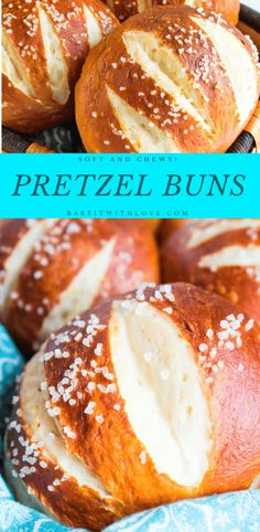 If you have ever wanted to try your hand at making the perfect homemade Pretzel Buns for your amazing home grilled burgers, then give this recipe a try! The end result is so chewy and soft that you will have an actual NEED to make these again…and soon! Pretzel Bun Recipe, Pretzel Bread, Homemade Pretzels, Homemade Buns, Bread Recipes, Baking Recipes, Pastries Recipes, Burger Buns, Burgers