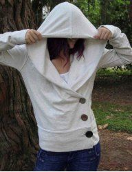 Fashionable Irregular Hooded Skew Buttoned Hoodie For Women