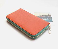 Orange leather wallet, wallet for women, orange purse, zipper pocket, slots for credit cards, gift for her on Etsy, $58.00