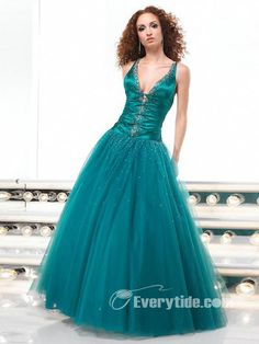 Wholesale OrangzaGorgeous Organza V-neck Floor-length Ball Gown Military Ball Dresses$179.99