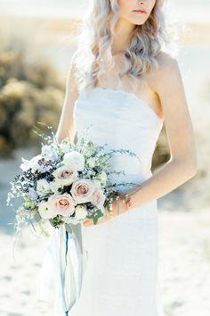 Romantic Beach Bridal Session by Stephanie Sunderland. New York City Fine Art Wedding Photography. Cathedral Veil.