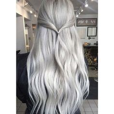 Long silver hair ❤ liked on Polyvore featuring accessories, hair accessories, silver hair accessories and long hair accessories
