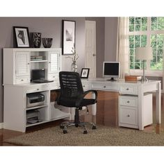 Astounding L-shaped White Desk With Hutch For Home Office With Black Rolling Chair White Corner Desk With Hutch Office Depot White Desk With Hutch: The Functional White Desk with Hutch, Furniture