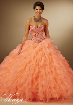 Quinceanera Dress 89057 Jeweled Beading on Organza Petal Skirt