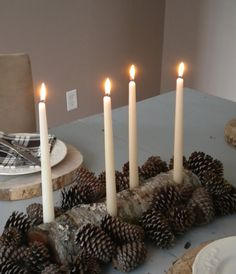 Log candle holder. Ditch the pinecones.