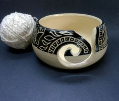Decorative Black and White Yarn Bowl by:-Uturn
