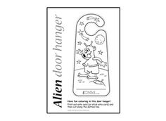 let your child print off and colour in our alien door hanger design this fun - Bedroom Design Template