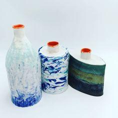 water themed ceramic deco bottles Bottles, Jar, Ceramics, Projects, Handmade, Home Decor, Hall Pottery, Hand Made, Homemade Home Decor