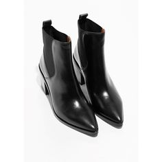 Chunky Chelsea Leather Boots ($195) ❤ liked on Polyvore featuring shoes, boots, real leather shoes, chunky-heel boots, leather footwear, leather shoes and chunky shoes