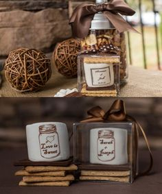 Unique Wedding Favor Ideas ~ Nothing is better than these custom s'more kits featuring your signature wedding logo, monogram, or just your special saying!  To see more: http://www.modwedding.com/2014/06/21/unique-wedding-favor-ideas/ #wedding #weddings #weddingfavor