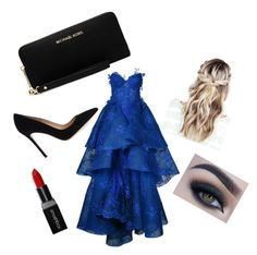 """""""Untitled #41"""" by queen1997nat on Polyvore featuring Nedret Taciroglu Couture, Gianvito Rossi, MICHAEL Michael Kors, Too Faced Cosmetics and Smashbox"""