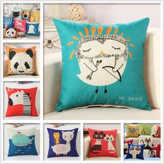 """Aliexpress.com: Comprar Caliente venta 18 """" lugar animales lindos de la historieta de algodón de lino decorativo Throw Pillow case decorativo casero silla en casa de cubierta de cojines del sofá fiable proveedores en Deep Design Co.,Ltd"""