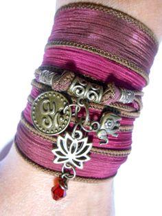 Namaste Yoga jewelry Lotus Silk Wrap bracelet Elephant Om door HVart, $28.99
