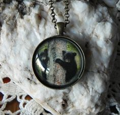 Hunting Jewelry Bear Necklace Black Bear by HoovesHornsWingsPaws
