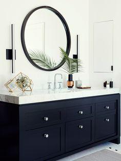 Stylish bathroom via Domaine The built in medicine cabinet