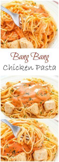 Bang Bang Chicken Pasta. This sauce is so addicting!