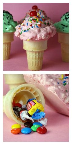 Krispie treat ice cream cones.  Such cute treats for a Summer party!!  Hide candy in the cones -- I like to bag these up for kids to take home after a party instead of a goodie bag.