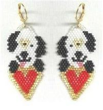 Puppy Love Earrings Pattern from Bead Art by Ronit  http://www.bead-patterns.com/shop/shop.php?method=itemnumber&keywords=17105