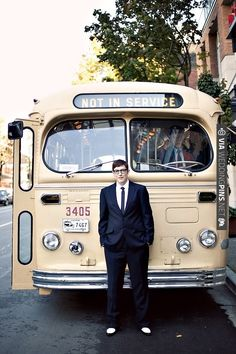 The coolest wedding transportation ~ a cream, vintage bus! | CHECK OUT MORE IDEAS AT WEDDINGPINS.NET | #weddings #weddinginspiration #inspirational