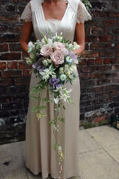 Cascading rose and garden flower bouquet from http://www.petalandtwig.co.uk/
