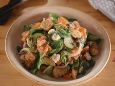 Get Spinach Salad with Smoked Salmon, Everything Bagel Croutons and Lemon-Caper Vinaigrette Recipe from Food Network