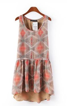 Tan and Coral Chiffon Dress ++