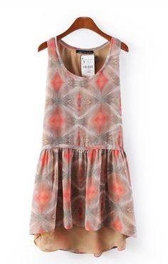 Tan and Coral Chiffon Dress ++