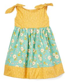 Another great find on #zulily! Mustard & Turquoise Floral Bow Dress - Infant, Toddler & Girls #zulilyfinds